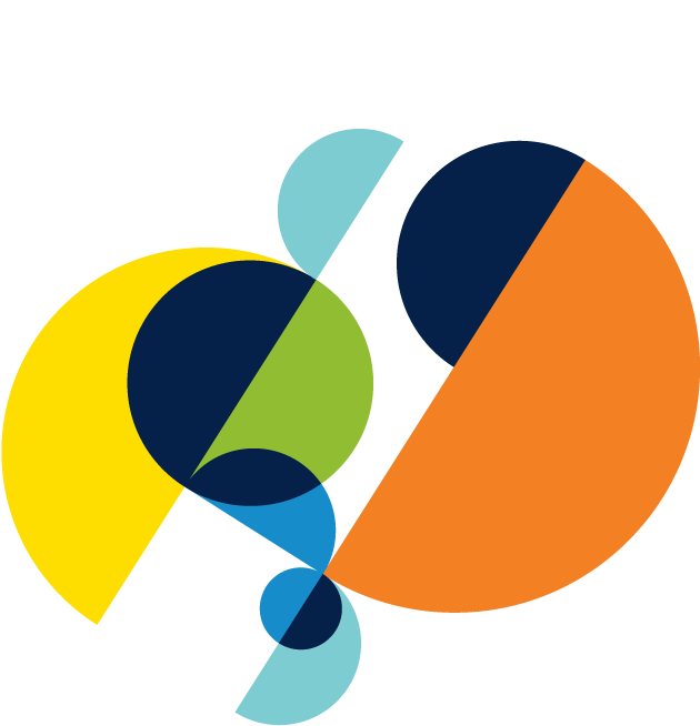 abstract circular shapes that are orange, blue, green, and yellow