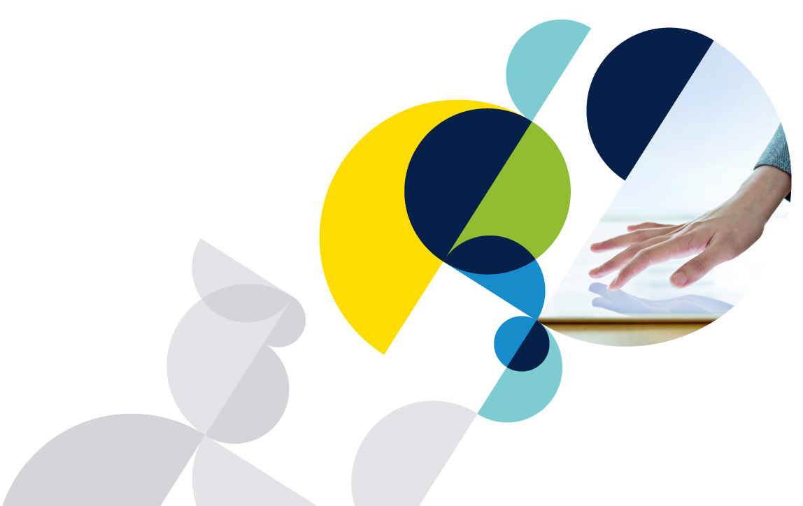 multiple circular shapes surrounding an image of a persons hand touching a  table