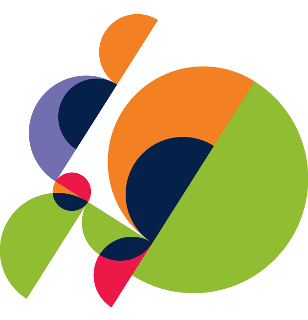 decorative circular image with multiple colors.